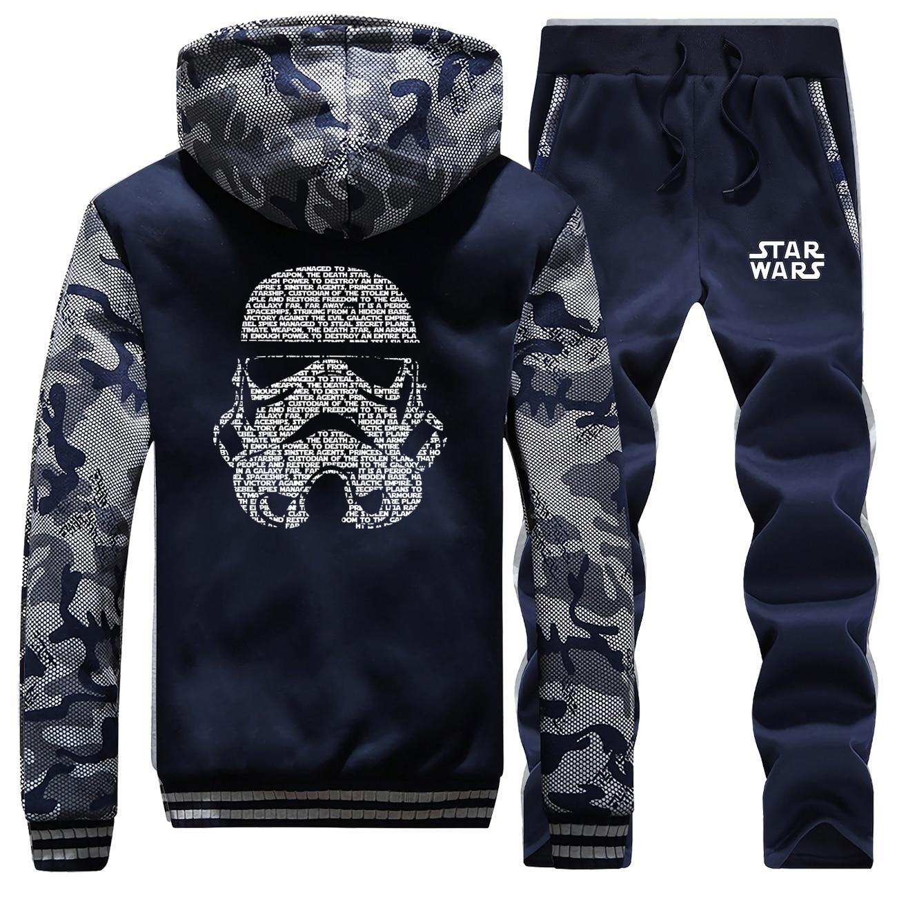 Srar Wars Jacket Pant Set Men Tracksuits Selfie Stormtrooper Hoodies Pants Suit Sets Winter Thick Camo Sweatshirt Sweatpants