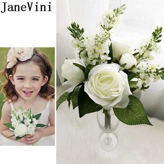 JaneVini 2019 Artificial Flower Girl Bouquet White Pink Blue Rose Silk Bridesmaid Bridal Hand Flowers Red Small Wedding Bouquet