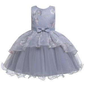 Летнее платье для малышей платье с вышивкой для девочек детское платье принцессы на день рождения пышные Детские платья с бантом и цветочны...