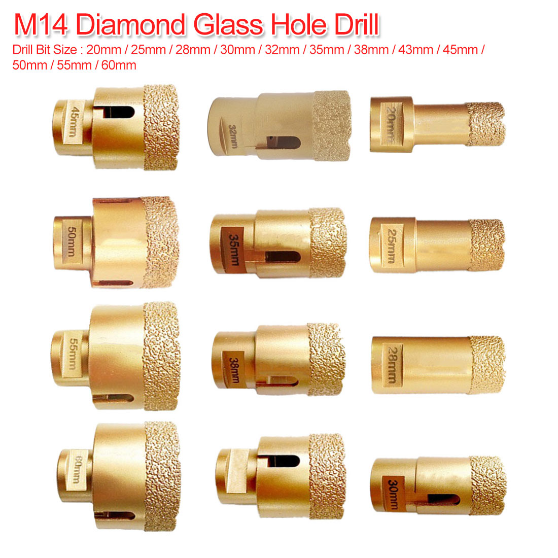Diamond Vacuum Brazed Drilling Core Bits M14 Connection Drill Bits Hole Saw Diamond Dry/Wet Drilling For Tile Stone 20mm-60mm