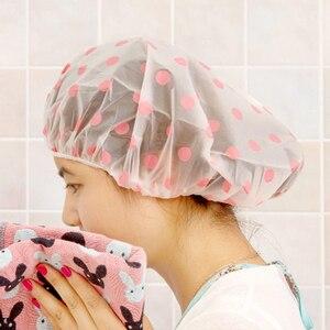 Fashion Waterproof Wave Point Bath Cap Hat Elastic Shower Hat Reusable Bath Head Hair Cover For Women Salon Shower Bathroom Tool(China)