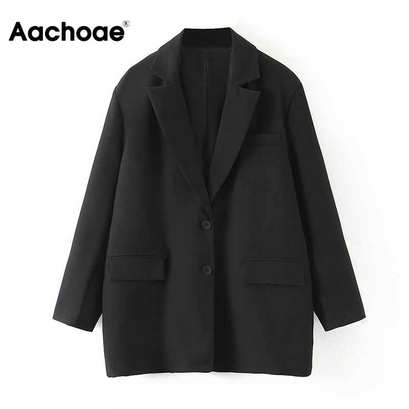 Aachoae 2020 Loose Office Lady Black Blazer Women Long Sleeve Casual Single Breasted Coat Notched Collar Suit Jacket Blazers