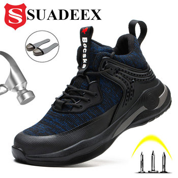 SUADEEX Safety Shoes Men Steel Toe Safety Boots Ankle Leather Work Boots Puncture-Proof Working Boots Lightweight Men Work Shoes suadeex steel toe boots for men military work boots indestructible work shoes desert combat safety boots army safety shoes