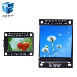 GREATZT TFT Display 0.96 / 1.3 inch IPS 7P SPI HD 65K Full Color LCD Module ST7735 Drive IC 80*160 (Not OLED) For Arduino