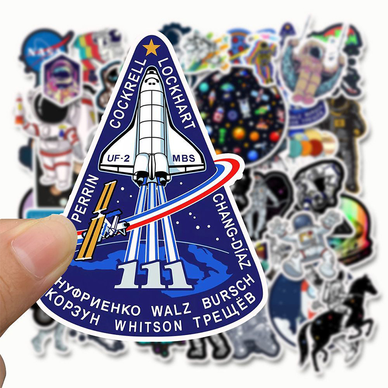 Astronaut Space Station Stickers 50 PCS/Pack Cartoon Lunar Rocket Universe Sticky For Trolley Case Skateboard Graffiti Stickers