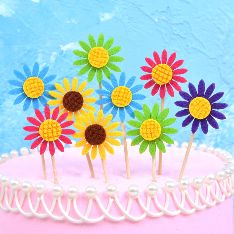 3 PCS A Lot Sunflower Sunflower Birthday Cake Bakery Decoration Inserts Party Dessert Table Dressing Up Decorative Flag