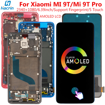 Amoled LCD Display For Xiaomi Mi 9T Display With Frame&Fingerprint 5 Point Touch Screen Replacement For Xiaomi Mi 9 T Mi 9T Pro