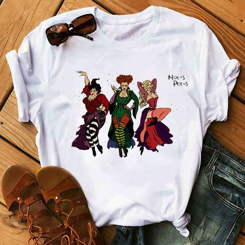 Summer Women Tshirt Cartoon Print T Shirt Hocus Pocus tee Shirt Halloween Tee Shirt Female Vogue Horror Top Shirt Lady Tee 1