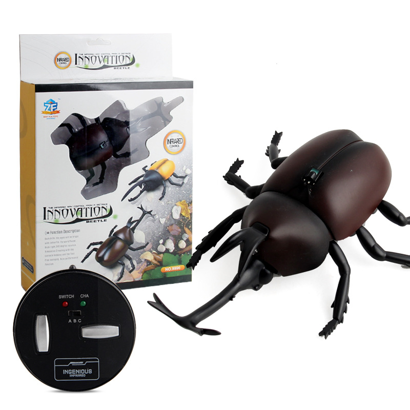 9996 Foreign Trade Electric Model Insect Model Infrared Remote Control Beetle Crawling  Unicorn Beetle Trick Toys