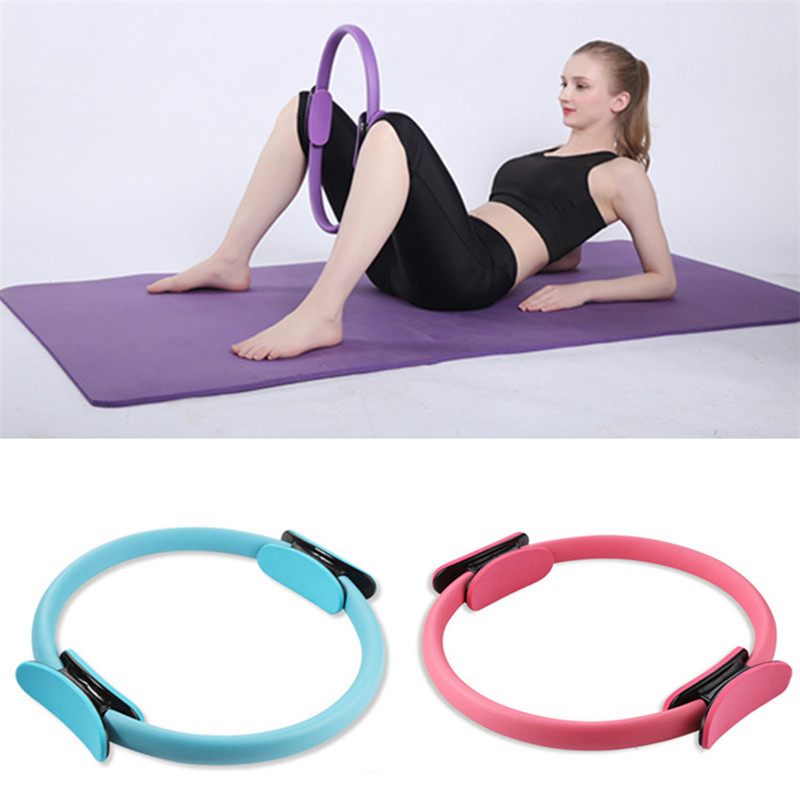Yoga Fitness Pilates Ring Women Girls Circle Magic Dual Exercise Home Gym Workout Sports Lose Weight Body Resistance Pink Purple