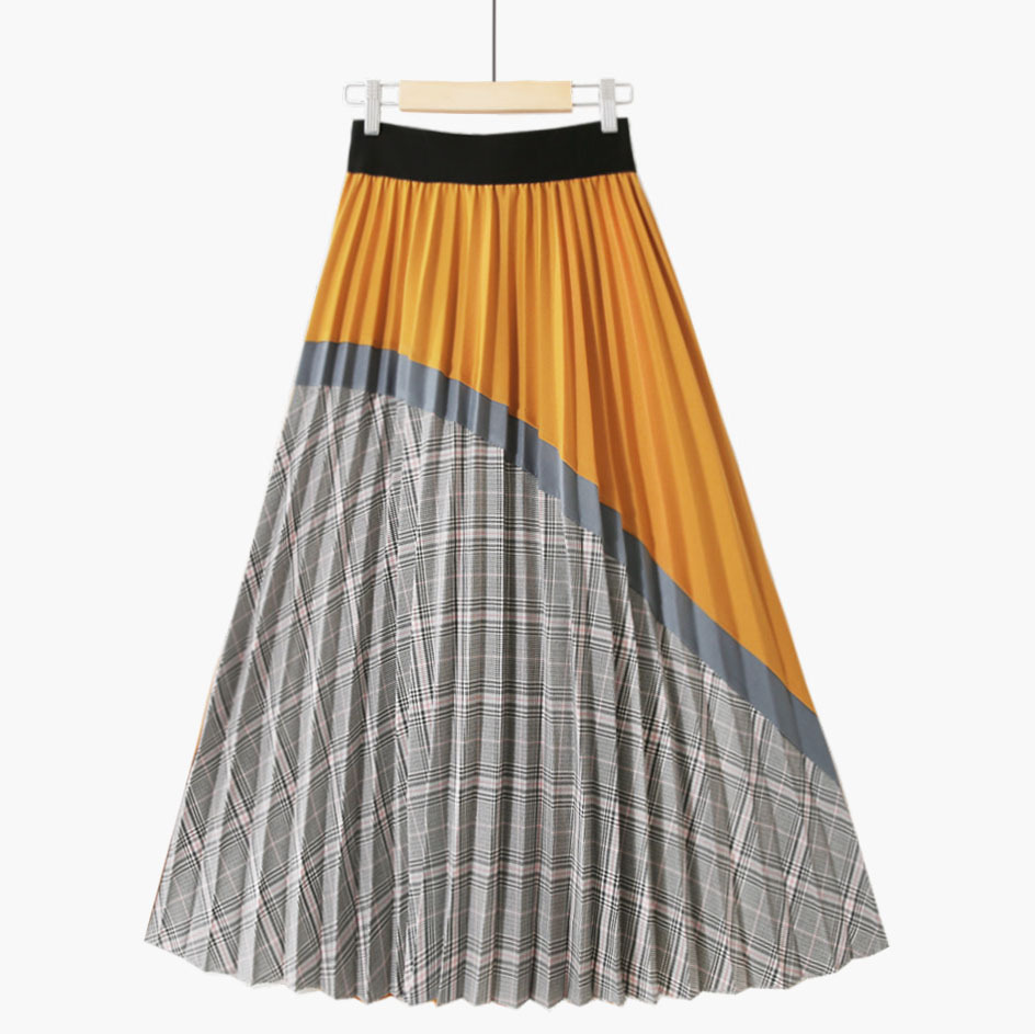 New High Waisted Plaid Skirts Women 2020 Retro Pleated Mid Skirt Women Falda Pantalon Mujer Fashions Discoloration Skirt Autumn