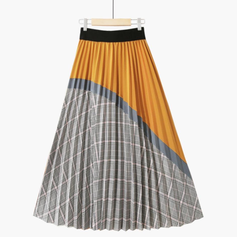 New High Waisted Plaid Skirts Women 2020 Retro Pleated Mid Skirt Women Falda Pantalon Mujer Fashions Discoloration Skirt Autumn