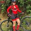 Cafete novo terno de ciclismo triathlon profissional das mulheres corrida equipe jérsei macacão manga longa apertado ciclismo terno 8