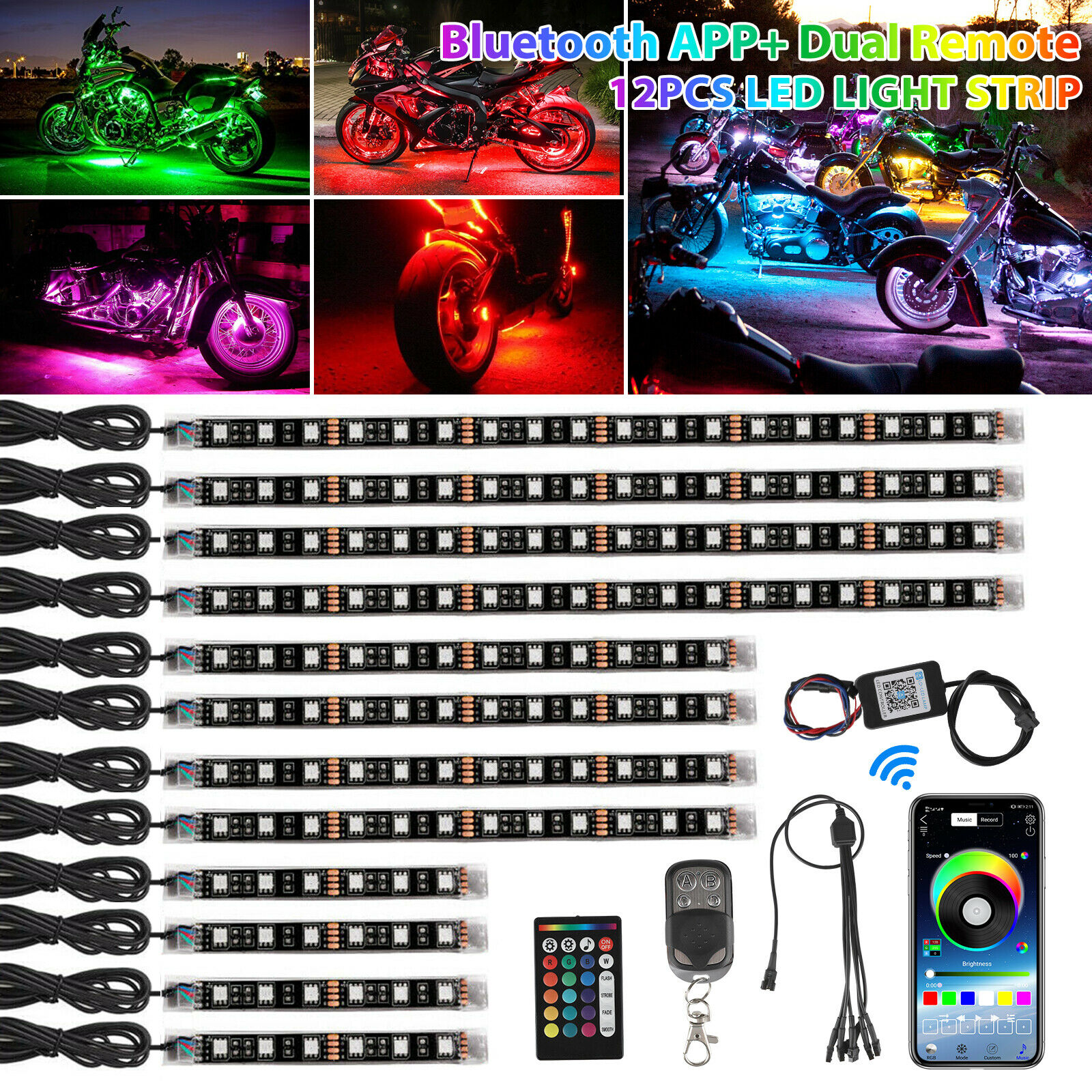 12pcs Motorcycle LED Neon Strip Lamp RGB Multicolor Under Glow Lights APP Remote Control 5050SMD LED Car Decorative Light Strip