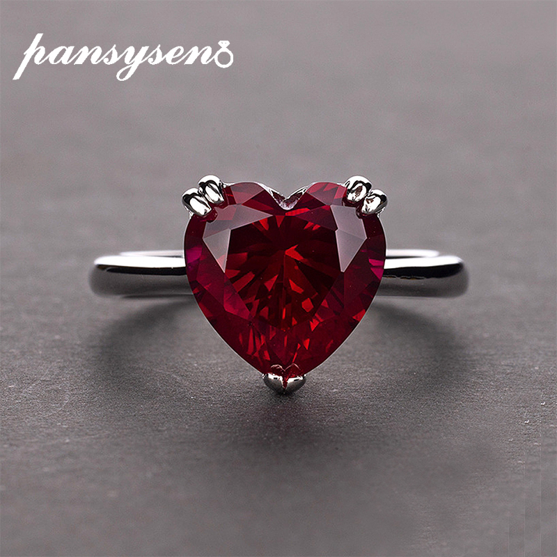PANSYSEN Red Ruby Heart Gemstone 925 Sterling Silver Wedding Rings For Women Bridal Fine Jewelry Engagement Ring Accessories