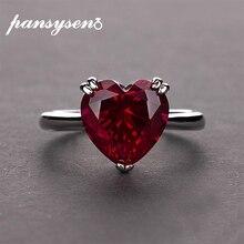 PANSYSEN anillos de boda de Plata de Ley 925 con rojo rubí gemas de corazón, joyería fina de compromiso, para novias