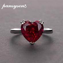 PANSYSEN kırmızı yakut kalp taş 925 ayar gümüş alyanslar kadınlar için gelin güzel takı nişan yüzük aksesuarları