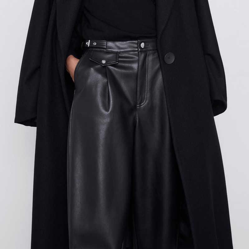 Fandy Lokar pantalones sueltos de cuero de imitación de moda de las mujeres PU de cuero de alta cintura pantalones elegantes bolsillos de las mujeres pantalones femeninos de las señoras JP