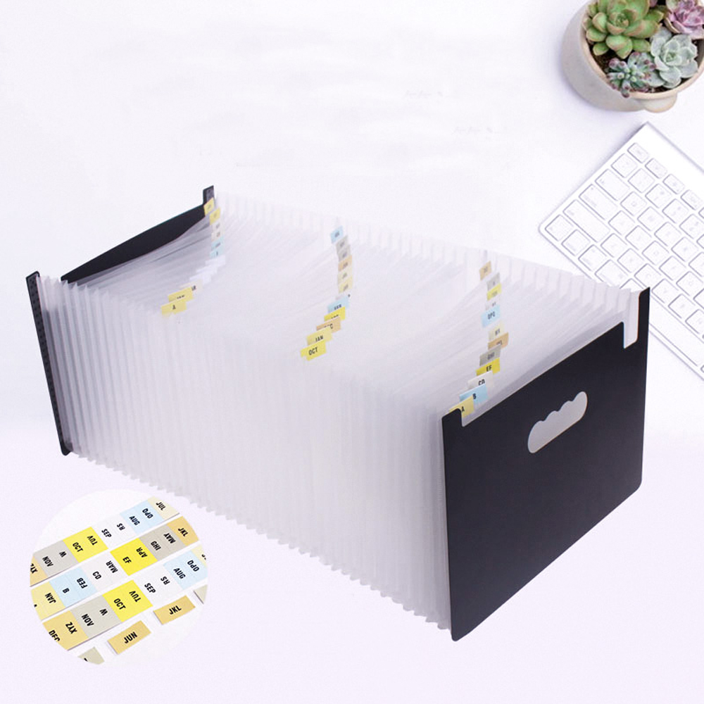 12 24 37 48 Pockets Expanding Portable File Folder A4 Organizer Portable Business File School Office Supplies Document Holder