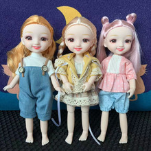 Fashionable New 19cm Doll 13 Movable Joint BJD 1/12 Doll DIY Naked Cute Smile Brown Big Eyes Delicate Girl Dolls Toy Gift