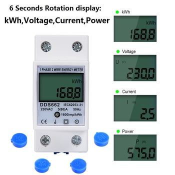 Single Phase Two Wire LCD Digital Display Din Rail kWh meter Power Consumption Energy Electric Meter kWh AC 230V 50Hz Electric 220v din rail energy meter lcd digital din rail meter 1 phase 2 wire 4p din rail electric meter electronic kwh meter