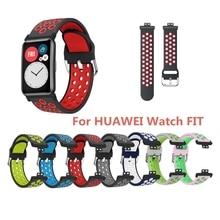 ทนทาน2สีซิลิโคนสายรัดข้อมือนาฬิกาข้อมือสำหรับนาฬิกาHuawei Fitสมาร์ทสายรัดข้อมือ