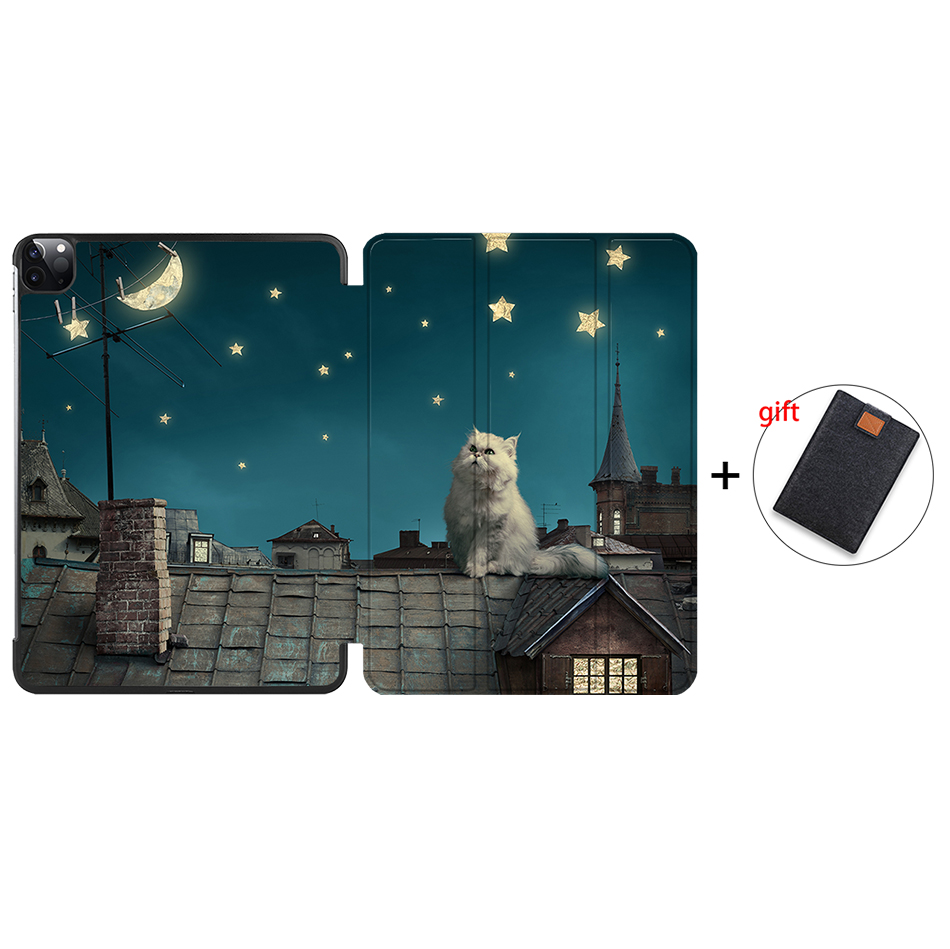 IP14 Silver MTT 2020 Case For iPad Pro 12 9 3rd 4th Generation 2018 PU Leather Flip Stand