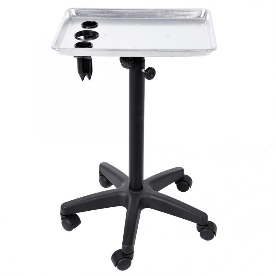 Aluminium Hair Salon Instrument Tray Adjustable Height Trolley  Tools Silver