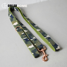 Nylon camouflage element style bow tie dog collar leash set fabric rose gold quick release walking leads Pitbull accessories