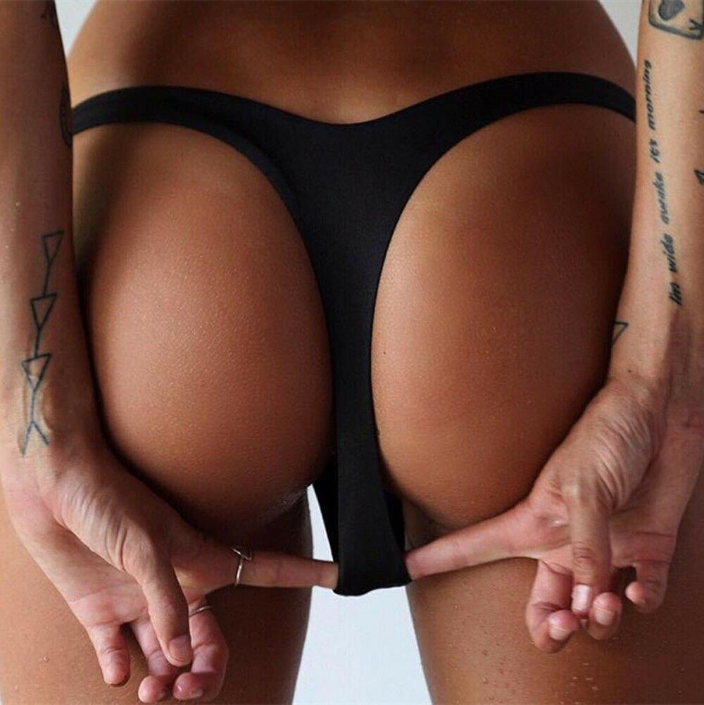 Solid Swimsuit Thong Bottom Brazilian Bikini Swimsuit Bottoms Tanga Two-Piece Separates