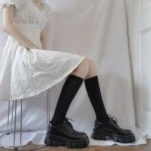Stockings Women Socks Medias Black White Japan Long High-Knee Solid Leg Thin Calcetines