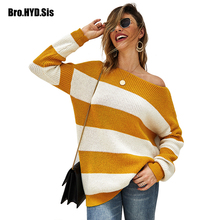 Fashion High Street Women Pullover Slash Neck Knitted Lady Sweater Long Sleeve Color Block Striped Patchwork Autumn Female Tops stylish long sleeve round neck color block striped patterned girl s sweater