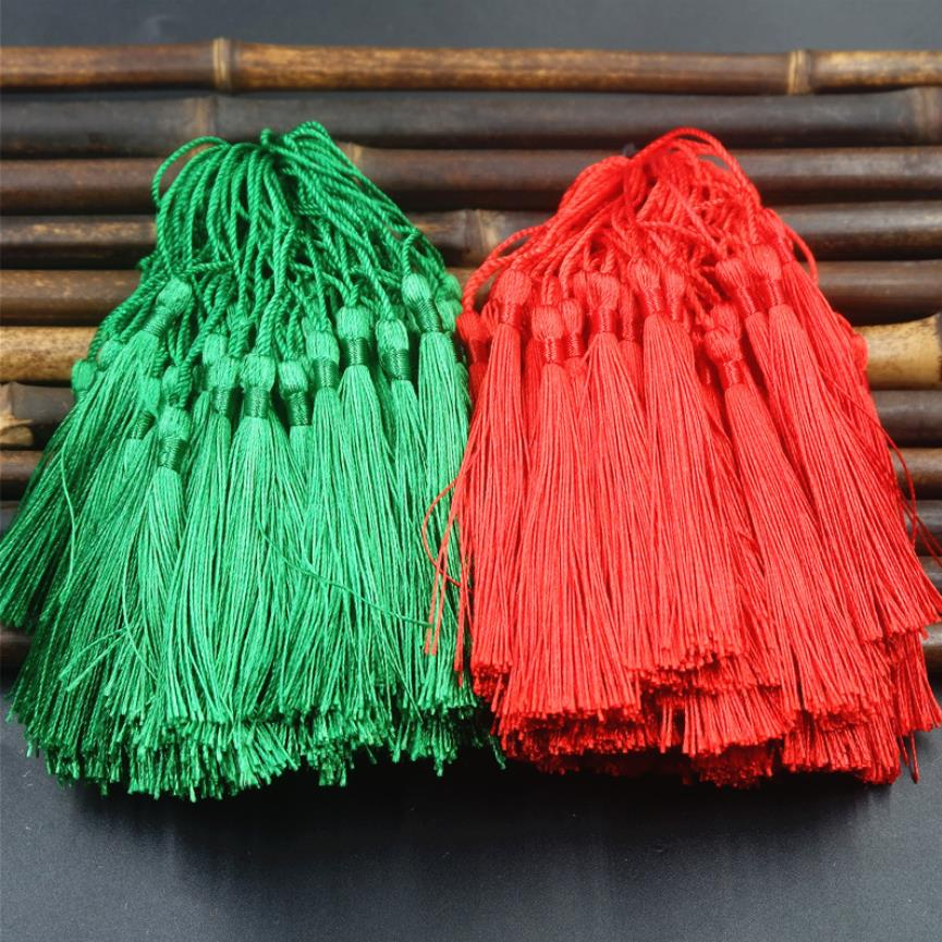 Wholesale 100pcs/lot 8cm Trim Tassels Silk Fringe Bookmark Key Tassels For Sewing Curtain Home Decoration Accessories DIY