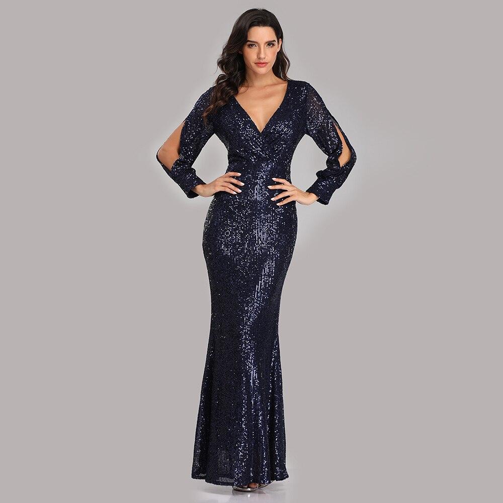 Beauty-Emily Sexy col en V paillettes robes de soirée à manches longues longueur de plancher sirène formelle robe de soirée robes de bal Vestido de noche - 5