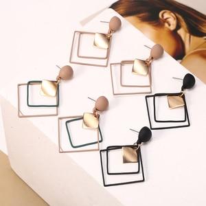 HOCOLE модные геометрические квадратные серьги для женщин корейская мода Металлическая Подвеска Висячие серьги женские элегантные ювелирные...