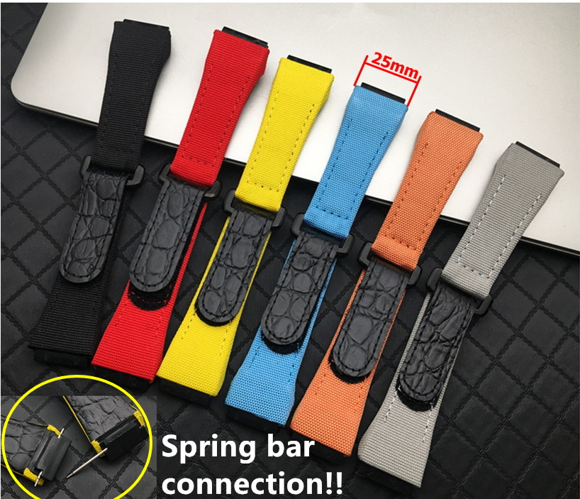 25mm Men Nylon Fabric With Leather Watchband For Richard Watch Mille Strap Band Bracelet Buckle For Spring Bar Version Free Tool