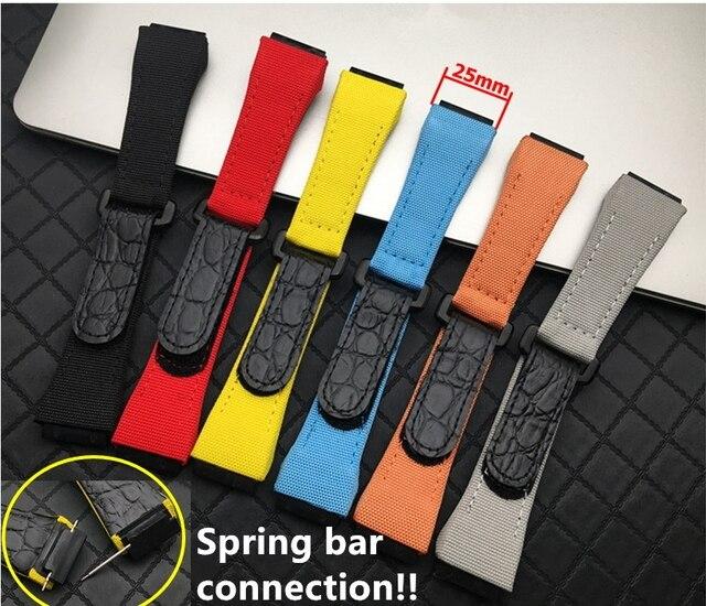 25Mm Mannen Nylon Met Lederen Horlogeband Voor Richard Horloge Mille Band Band Armband Gesp Voor Lente Bar Versie gratis Tool