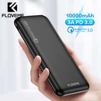 Floveme carregador rápido 3.0 banco de potência 10000 mah pd 3.0 rápido 18 w powerbank 10000 mah bateria móvel externa para iphone xiaomi rápido