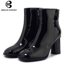 BONJOMARISA New 33-43 Patent Genuine Leather Ankle Boots Women 2019 Brand Square Toe Booties Ladies High Heels Shoes Woman bonjomarisa new women s genuine leather square high heels metal decoration shoes woman fashion spring pumps big size 33 43