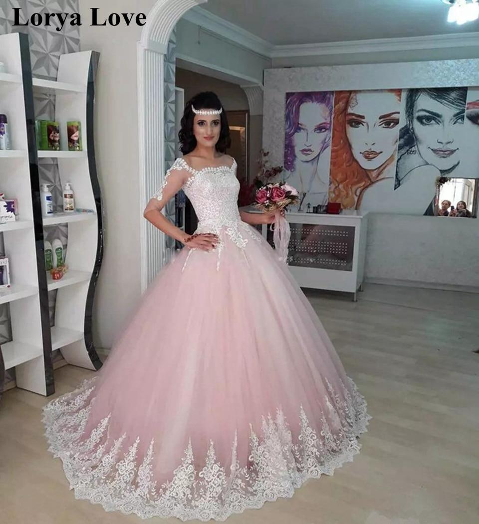light Pink Princess Quinceanera Dresses 2020 Off Shoulder half Sleeve Pageant Dress Sweet 16 Evening Gowns Long Vestidos 15 anos