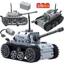 Construcción del tanque de bloques de construcción para niños, ciudad, militar, Motor eléctrico, tanque de alta tecnología, pista, ejército, soldado, figura, piezas, juguetes educativos