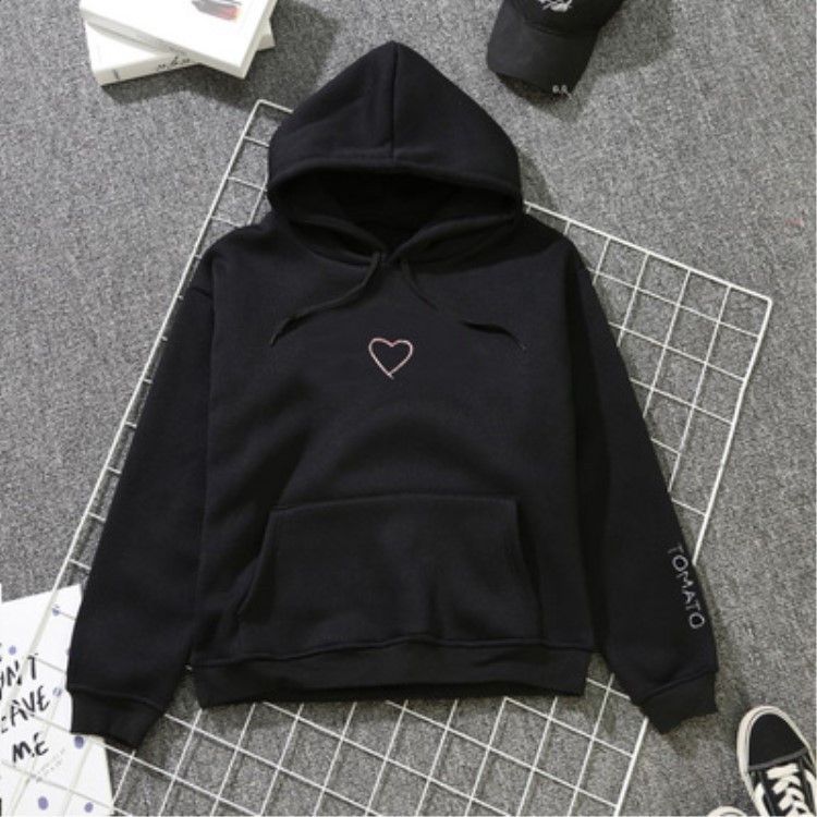 2019 Spring And Summer Heart Printed Hooded Pullover Plus Velvet Hoodie Korean-style Men And Women Couple Clothes Students Busin