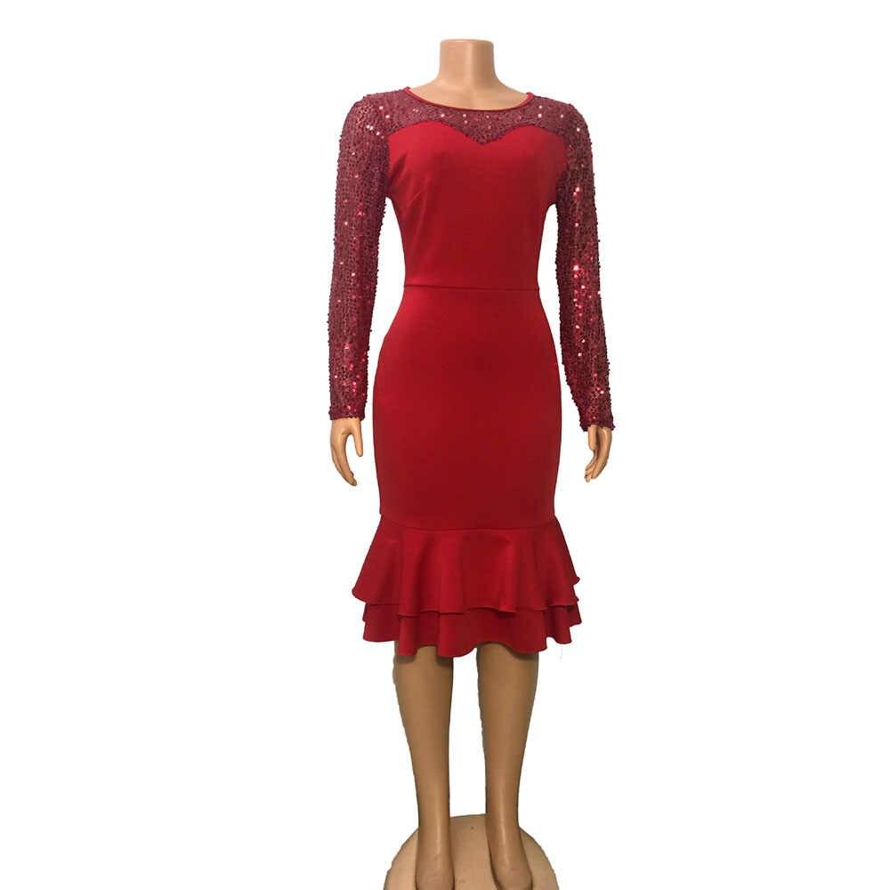 2019 Rode Vestido Ruffle Sequin Jurk Sukienka Vrouwen Lange Mouwen Party Jurken Vestidos Robe Longue Femme Elbise Kleding Vrouwen