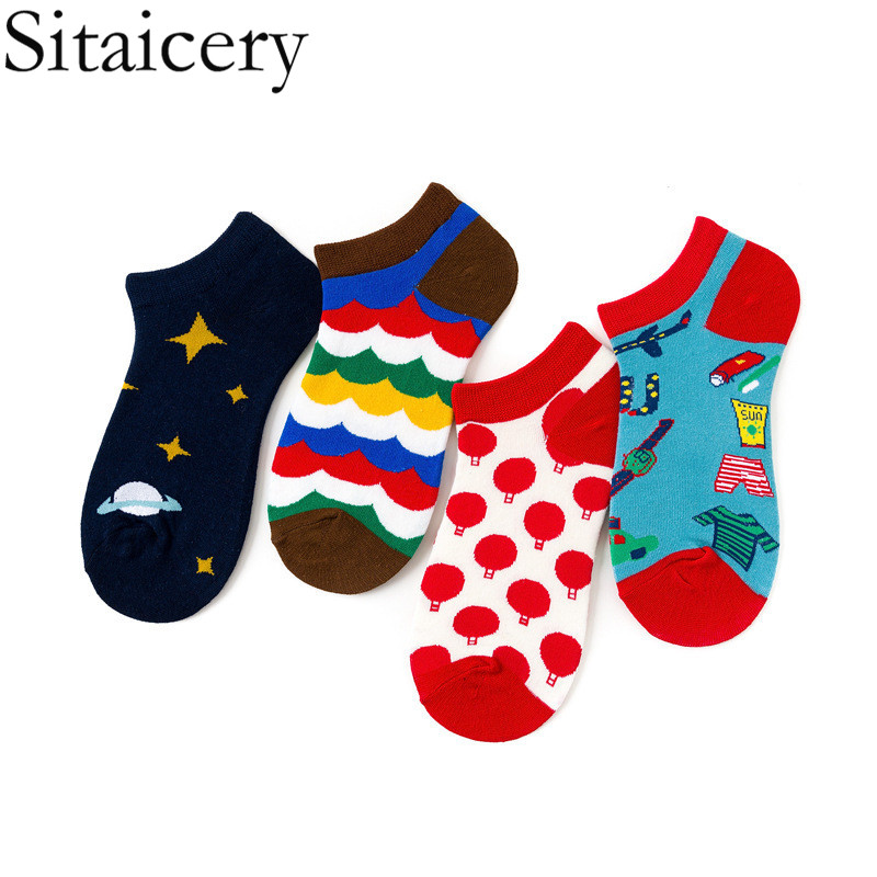 Sitaicery Fashion Funny Men's Socks Invisible Low Cut Ankle Sock Summer Casual Breathable Short Socks Lover Unisex Coton &women