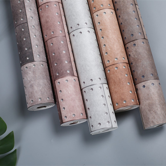 Retro Nostalgic Cement Ash Rivet Square Industrial-Style Wallpaper Tea Shop Restaurant Bar Hotel Clothing Store Wallpaper
