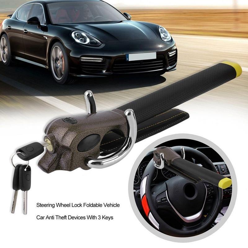 Universal Car Steering Wheel Lock Foldable Anti-Theft Security Car Locks Auto Steering Lock Anti Theft