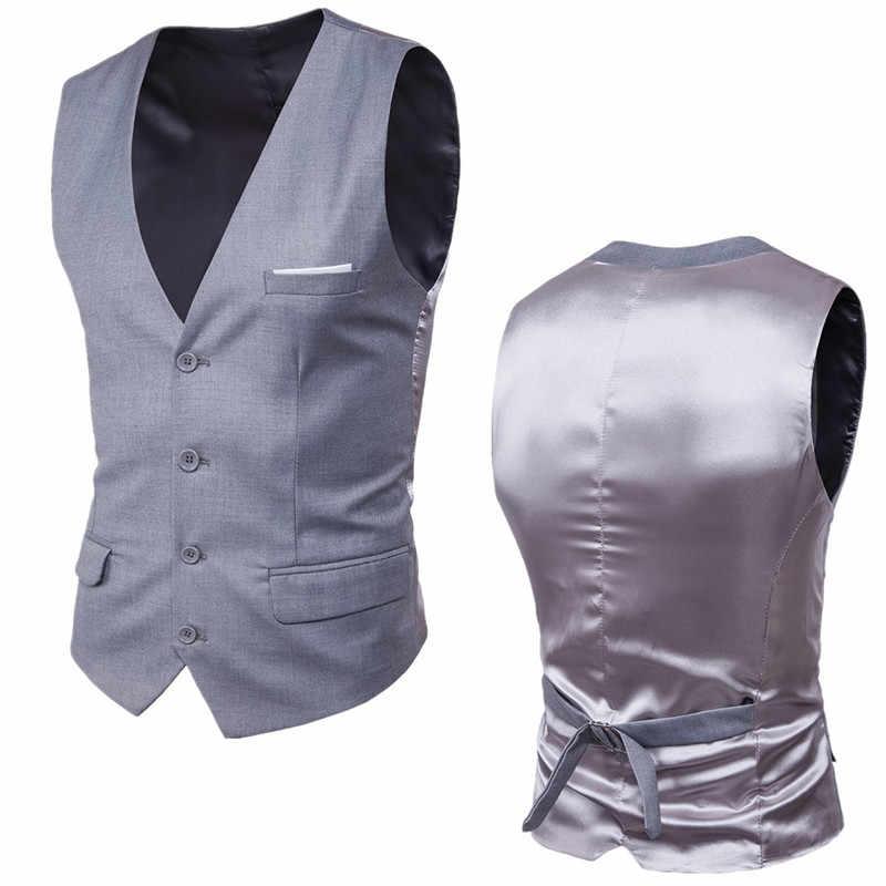 9 Color Men's Business Single Buttons Vests