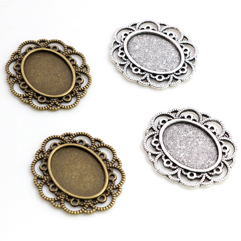 10pcs 13x18mm Inner Size Antique Silver Plated Bronze Flower Style Cameo Cabochon Base Setting Charms Pendant Necklace Findings