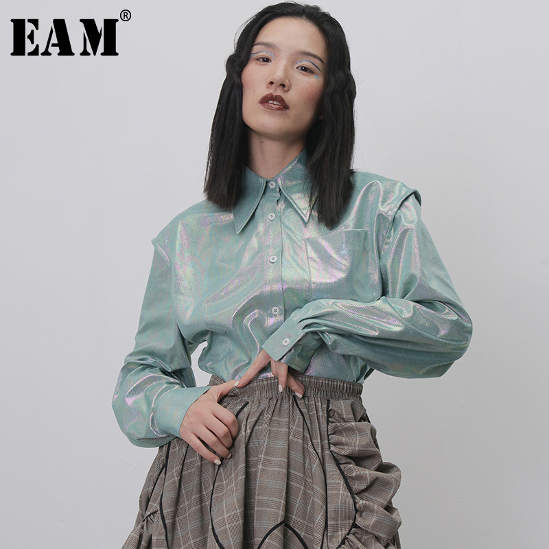 [EAM] Women Green Split Joint Shining Blouse New Lapel Long Sleeve Loose Fit Shirt Fashion Tide Spring Autumn 2020 1H268