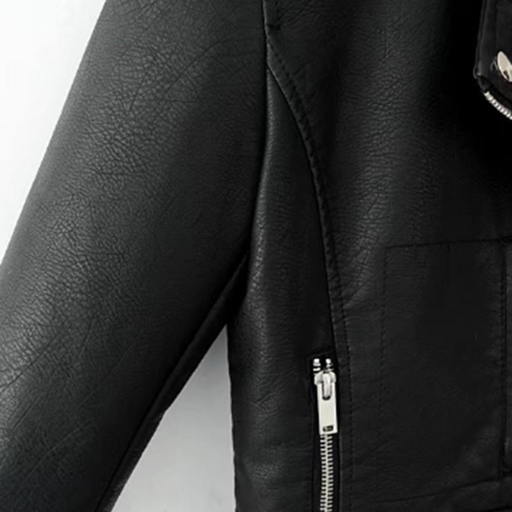 H355ce897549c4166a17ef5d4c77370aeQ Fashion Punk Women Coat Jacket Leather Long Sleeve Lapel Zipper Button Motorcycle Jacket Short Coat For Women's Clothings